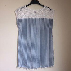 Striped Lace Swim-Wear Cover Up